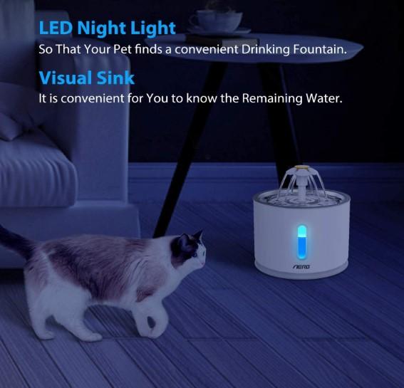 Fuente o dispensador de agua automático para gatos con luz LED